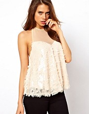 ASOS Top with Babydoll and Embellished Petals