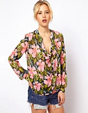 ASOS Blouse With Drop Collar In Bird In The Bush Print