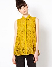Won Hundred Anymore Broderie Sleeveless Shirt
