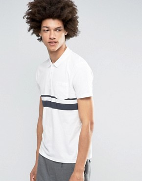 ASOS Stripe Polo With Pocket In Off White