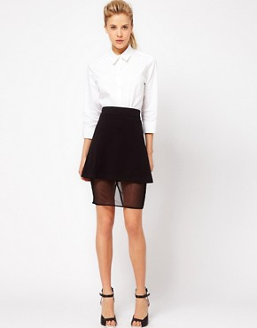 Image 1 ofASOS Ponte Skirt In A Sheer Mesh