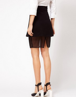 Image 2 ofASOS Ponte Skirt In A Sheer Mesh
