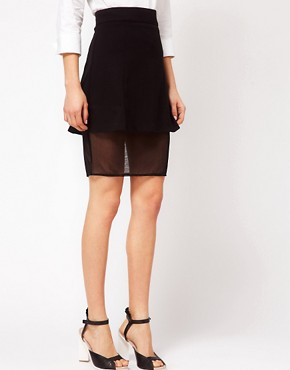 Image 4 ofASOS Ponte Skirt In A Sheer Mesh