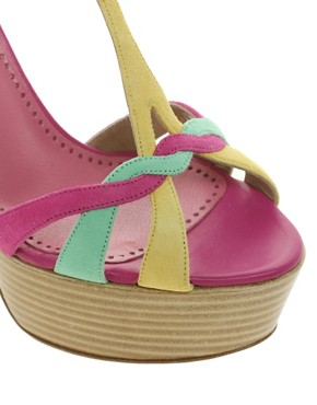 Image 3 ofMoschino Cheap and Chic Spathodea Multicoloured Platform Sandals