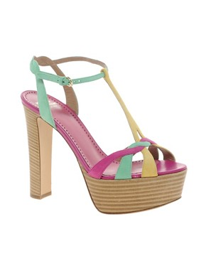 Image 1 ofMoschino Cheap and Chic Spathodea Multicoloured Platform Sandals
