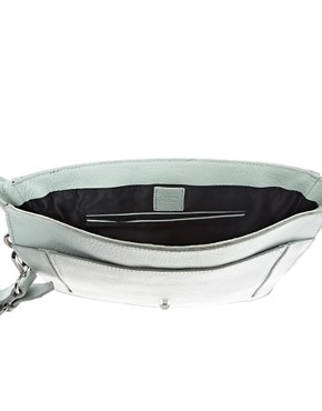 Image 2 ofASOS Premium Leather Square Buckle Clutch