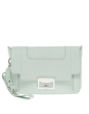 Image 1 ofASOS Premium Leather Square Buckle Clutch