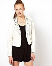 Chaqueta biker de efecto cuero de Goldie