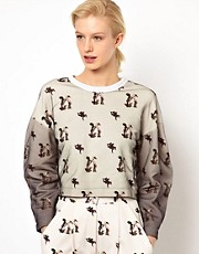 Louise Amstrup  Durchgehend bedrucktes Sweatshirt mit Netzoberlage