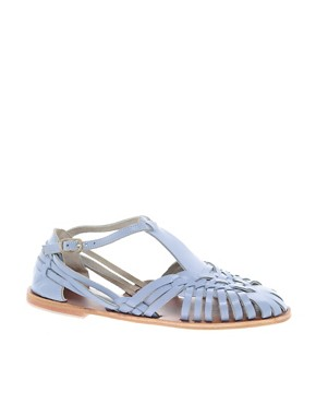 Image 1 ofASOS FRANCESCA Leather Flat Sandals