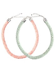 ASOS Two Pack Pastel Tube Necklaces