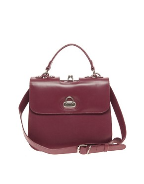 Image 1 ofASOS Premium Leather Vintage Frame Lady Bag
