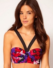 ASOS Floral Padded Longline Fuller Bust Bikini Top D-F