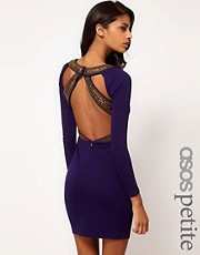 ASOS PETITE Exclusive Bodycon Dress With Strappy Embellished Back