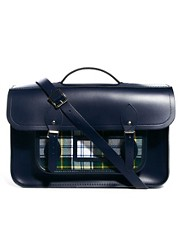 The Cambridge Satchel Company 15&quot; Leather Satchel With Tartan Pocket