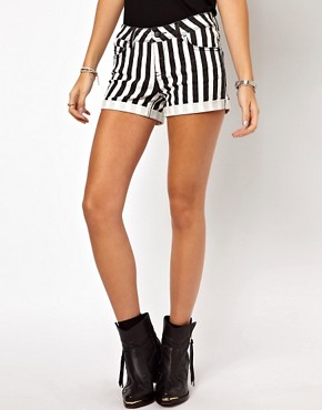 Image 4 ofOnly Stripe Denim Shorts