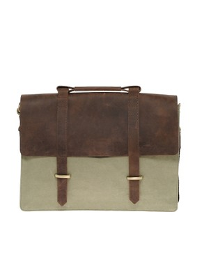 Image 1 ofASOS Canvas and Leather Satchel