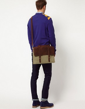 Image 3 ofASOS Canvas and Leather Satchel