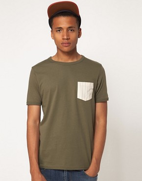 Image 1 ofASOS T-Shirt With Printed Woven Pocket