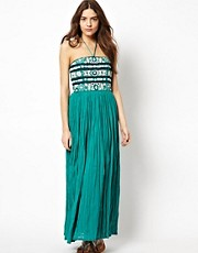 French Connection Maxi Dress With Embroidered Bodice