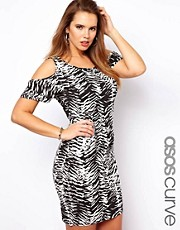 ASOS Curve Exclusive Bodycon Dress With Graphic Cold Shoulder