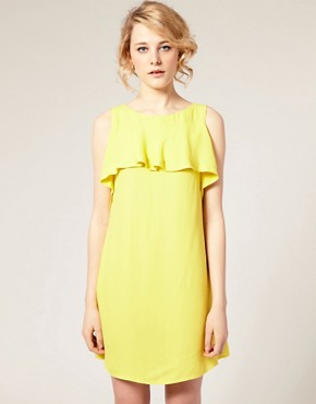 Image 1 ofASOS Shift Dress with Ruffle Front