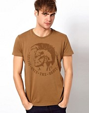 Diesel - T-Achel - T-shirt con logo di indiano Mohawk