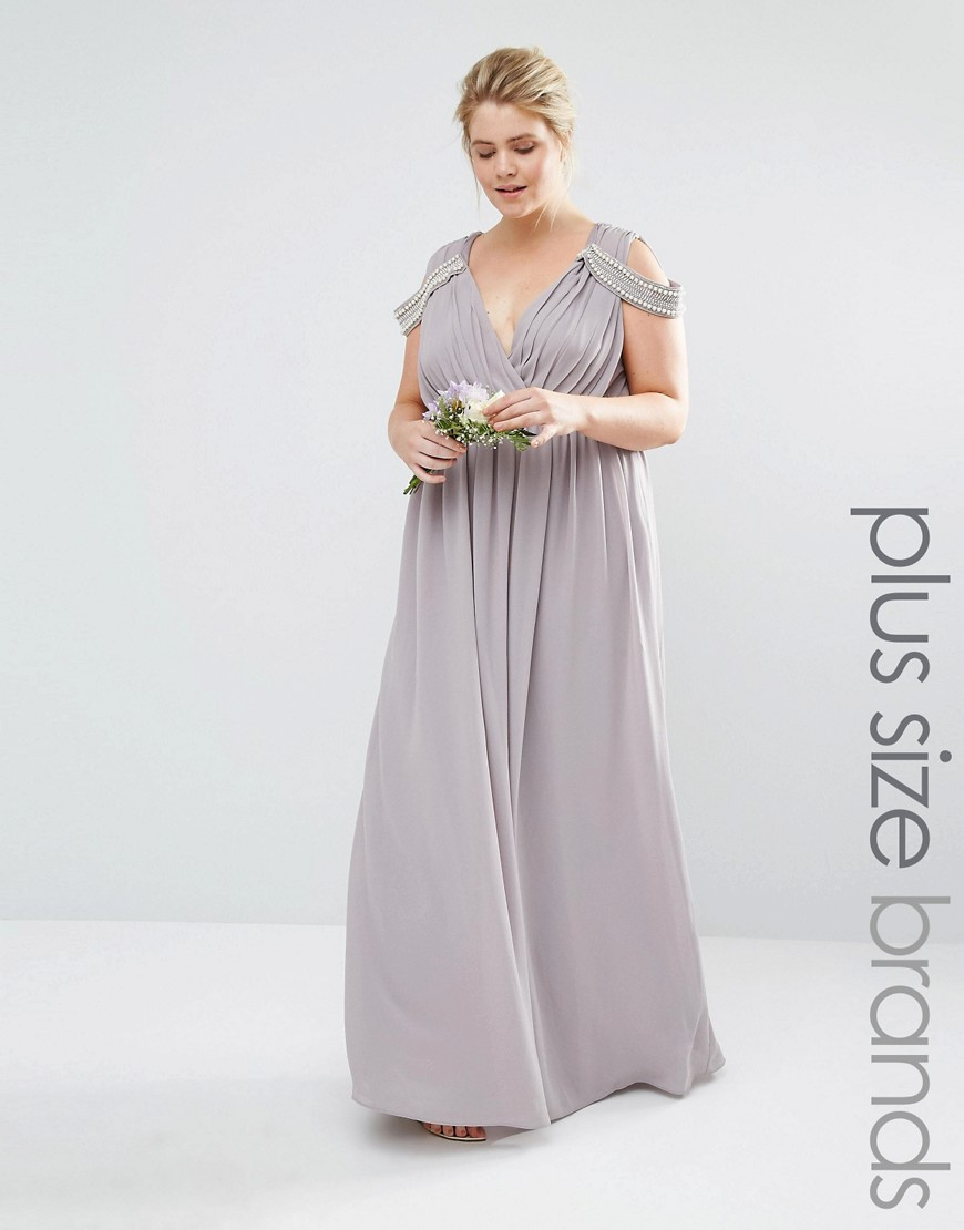 TFNC Plus Wedding Cold Shoulder Wrap Front Maxi Dress - Gray