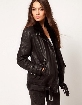 Image 1 ofWhistles Jamie Fur Lined Leather Jacket