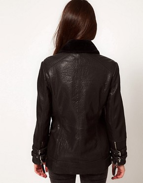 Image 2 ofWhistles Jamie Fur Lined Leather Jacket