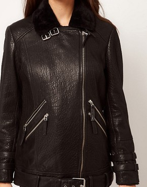 Image 3 ofWhistles Jamie Fur Lined Leather Jacket