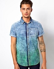 River Island Denim Shirt in Dip Dye