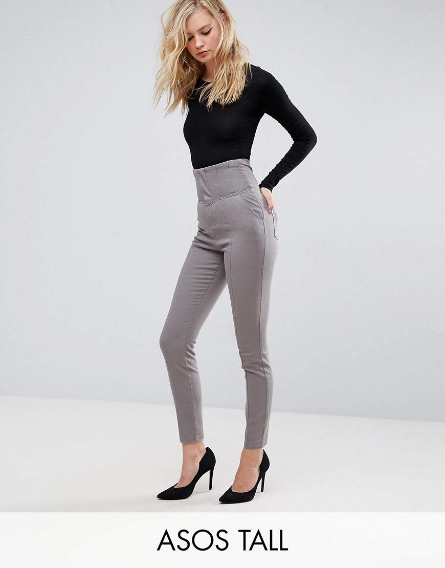ASOS TALL Corset Detail Cigarette Skinny Trouser - Charcoal