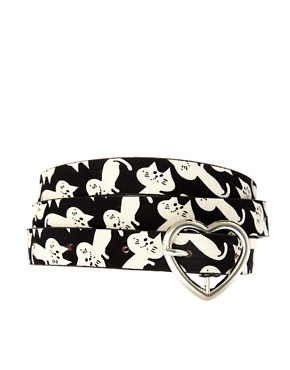 Image 1 ofASOS Skinny Waist Belt With Cat Print