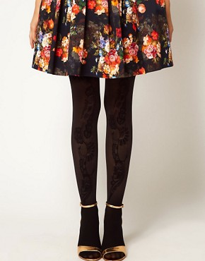 Image 1 ofASOS Flock Front Panel Tights