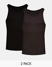 ASOS Rib Vest 2 Pack Black/Charcoal SAVE 2