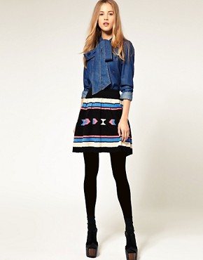 Image 1 of ASOS Skater Skirt with Aztec Pattern