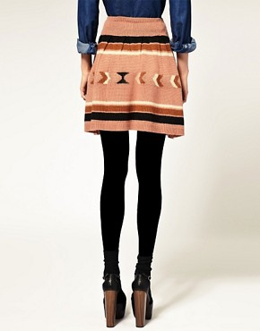 Image 2 of ASOS Skater Skirt with Aztec Pattern