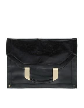 Image 1 ofASOS Metal Handle Fold-Over Clutch