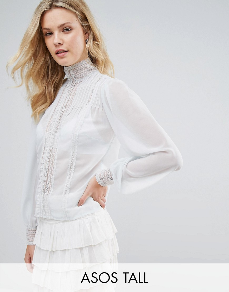 ASOS TALL Victoriana Blouse with Pintuck and Lace Detail - Blue