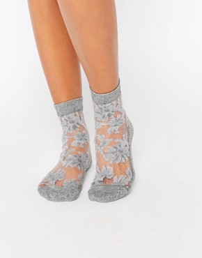 ASOS Glitter Floral Sheer Ankle Socks