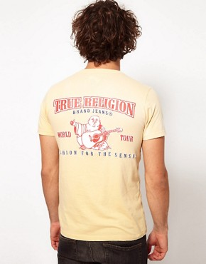 Image 1 ofTrue Religion T-Shirt Double Puff Logo Back Print