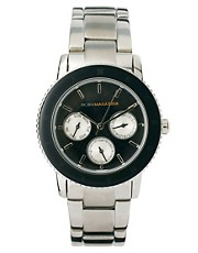 BCBG Ladies Chunky Metal Watch with Black Multi Function Dial