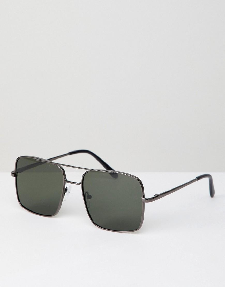 Квадратные солнцезащитные очки-авиаторы AJ Morgan - Серебряный