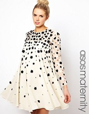 ASOS Maternity Exclusive Swing Dress With Floral Applique
