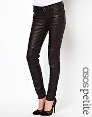 ASOS PETITE Premium Coated Skinny Biker Jean with Ruched Panel Detail