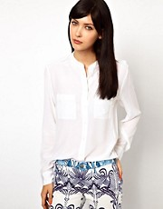 Equipment Carmen Silk Shirt with Epaulette Detail