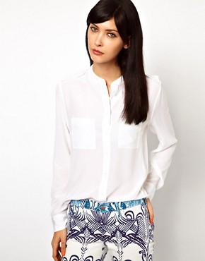Image 1 ofEquipment Carmen Silk Shirt with Epaulette Detail