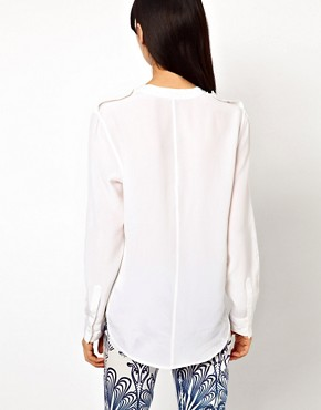 Image 2 ofEquipment Carmen Silk Shirt with Epaulette Detail