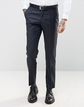 ASOS Slim Suit Trousers In Navy In 100% Wool